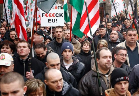 Supporters of the Hungarian parliamentary far-right party Jobbik attend anti-European Union demonstration in Budapest