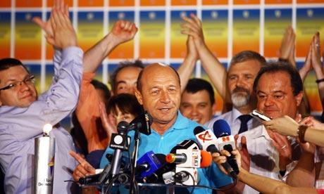 President Traian Basescu celebrates
