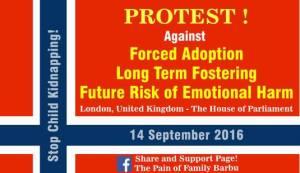 Protest Against Forced Adoption - London, United Kingdom September 14, 2016