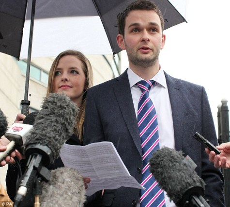Daniel McArthur, general manager of Ashers Baking Company, is pictured outside court with his wife Karen