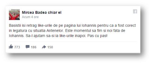 Postarea de pe Facebook aconsumatorului zilnic dependent de căcat, Mircea Badea