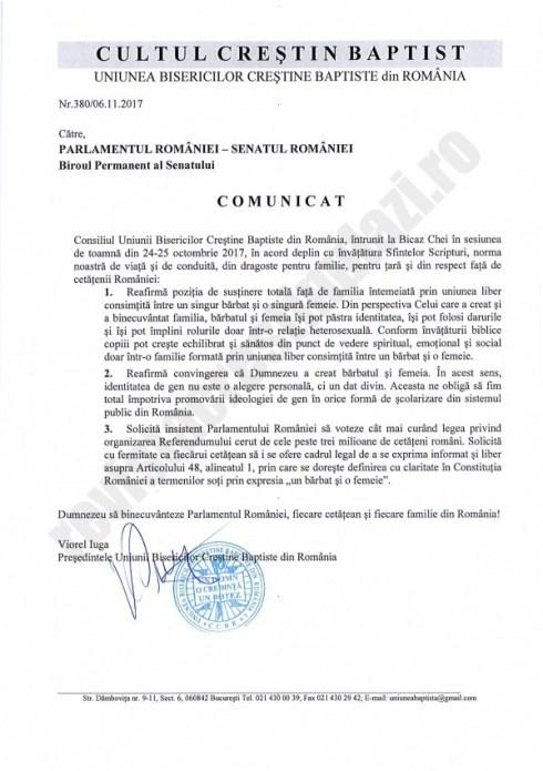 Mesajul Uniunii Bisericilor Creștine Baptiste din România adresat Senatului