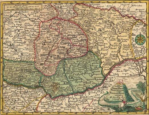 Transilvania, Valahia, Moldova, Banatul Timişan, estul Ungariei şi nordul Dobrogei pe o hartă din Atlasul Schreiber, Leipzig, 1730