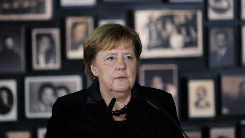 German Chancellor ANgela Merkel in former Nazi German concentration camp Auschwitz